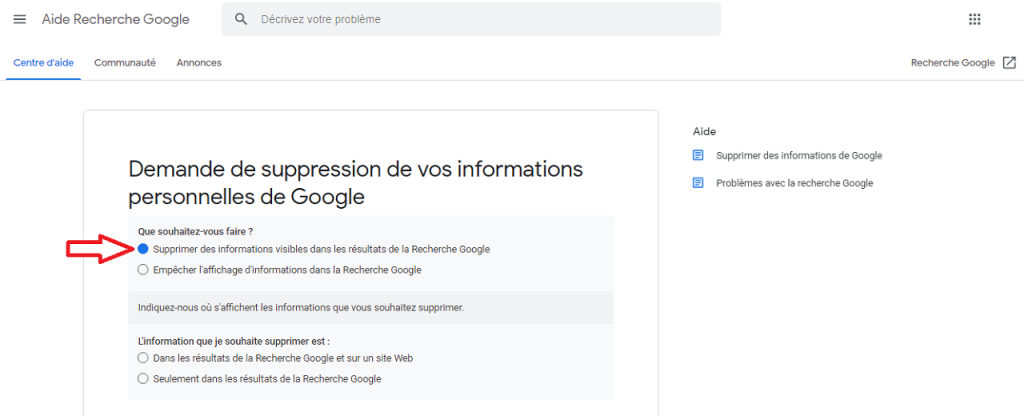 Comment supprimer des informations personnelles de Google reputationup