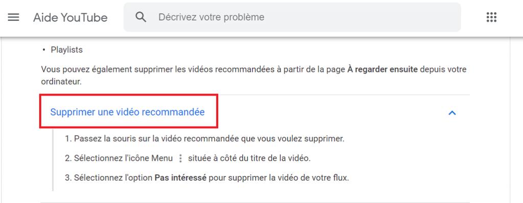 Supprimer les vidéos Youtube recommandées reputationup
