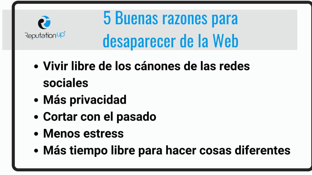 5 buenas razones para desaparecer de Internet ReputationUP