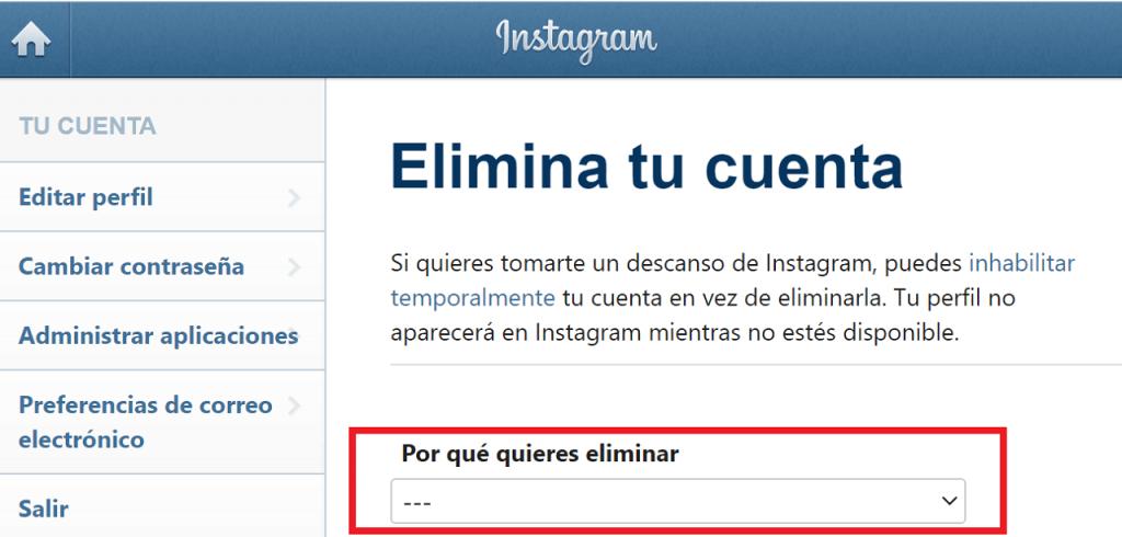 Cómo desaparecer de Instagram guia elimina cuenta ReputationUP