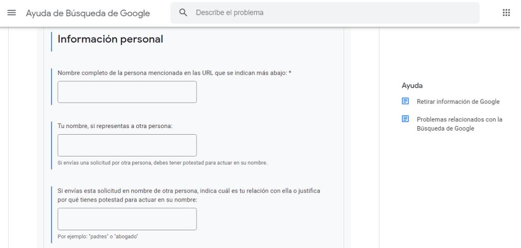 Cómo elimino mi información personal de Google guia ReputationUP