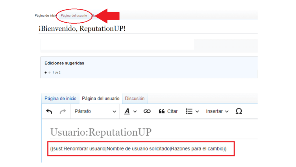 Cambiar nombre usuario wikipedia ReputationUP
