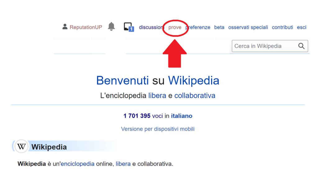 Come creare un contenuto su Wikipedia guida prove ReputationUP