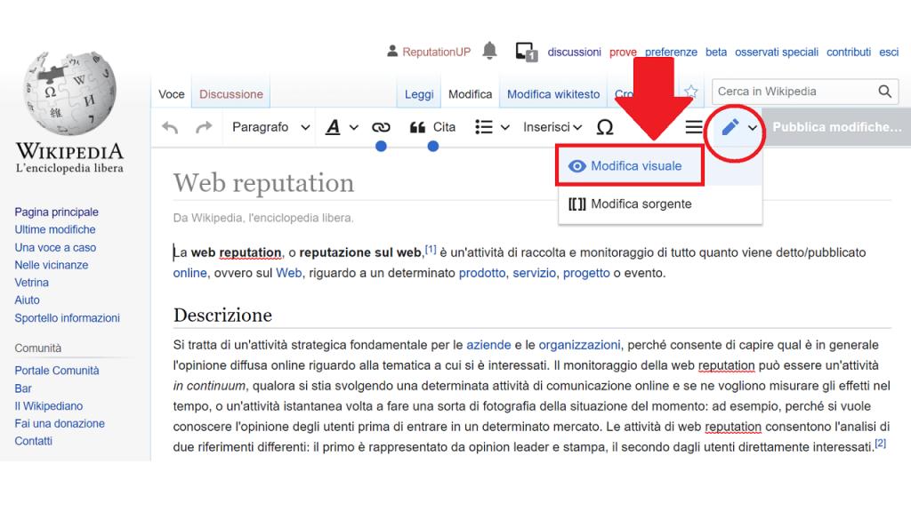 Modificare la pagina ReputationUP