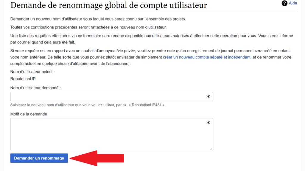 Changer le nom d'utilisateur sur Wikipédia ReputationUP