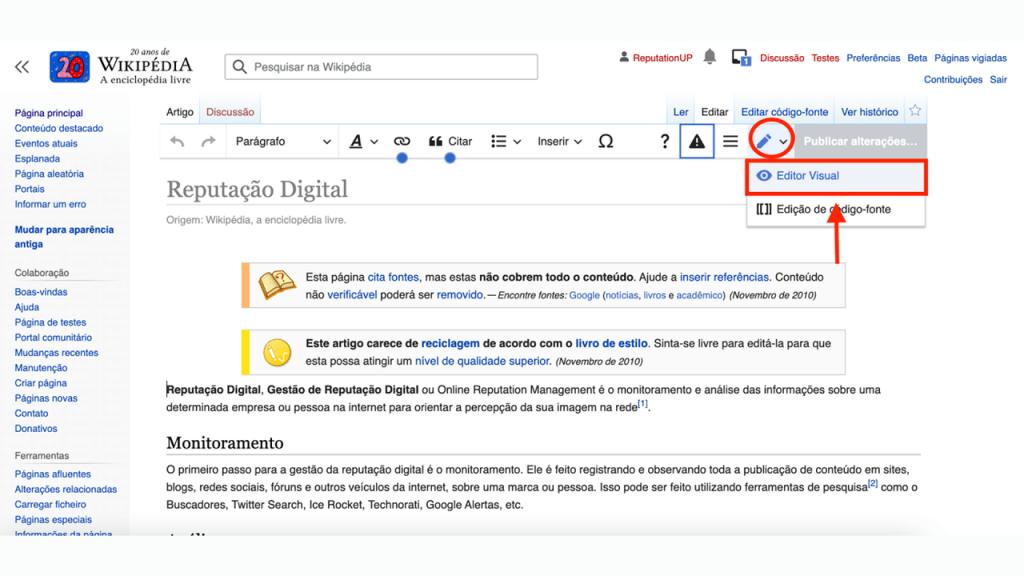 Como editar uma página da Wikipédia guia ReputationUP
