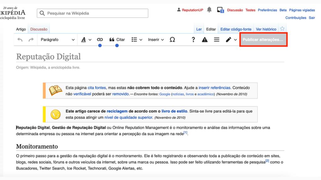Como editar uma página da Wikipédia guia publicar ReputationUP