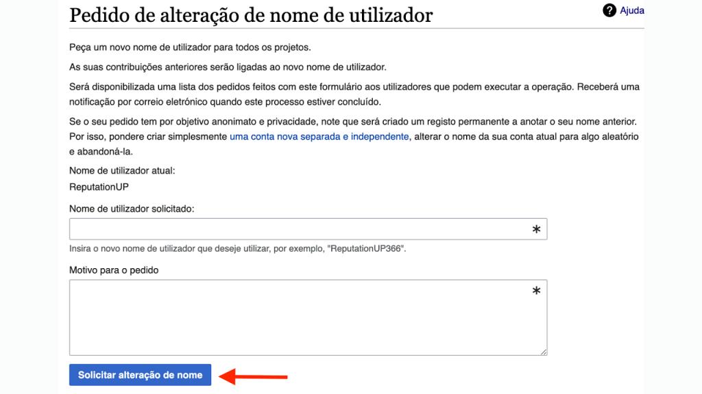 Mudar o nome de usuário na Wikipédia ReputationUP