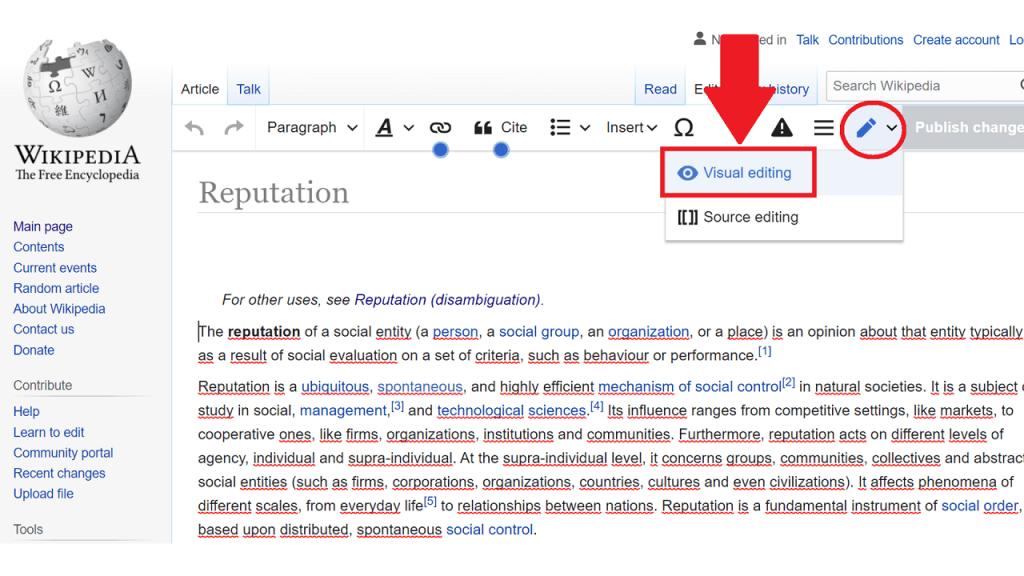 Page editing ReputationUP