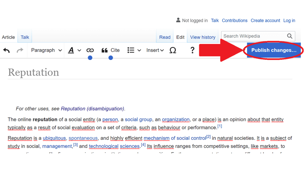 Page editing guie publish ReputationUP