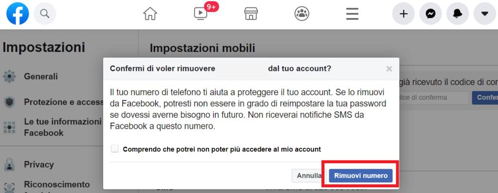 come eliminare numero di telefono da facebook reputationup