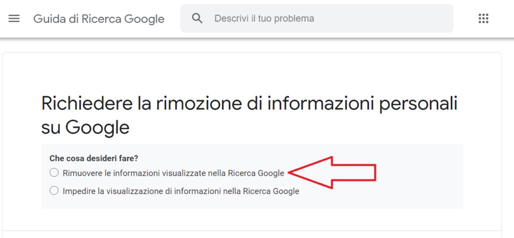 come richiedere la rimozione di info personali su google reputationup