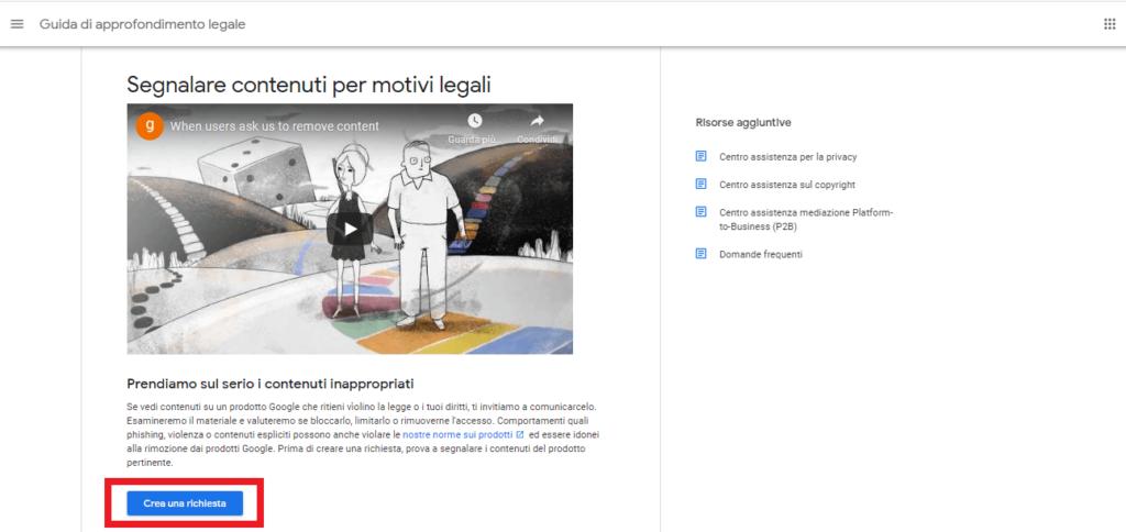 come segnalare contenuti per motivi legali (schermata del video) google reputationup