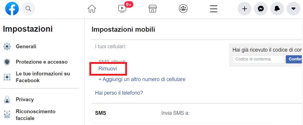 elimina numero telefono facebook reputationup
