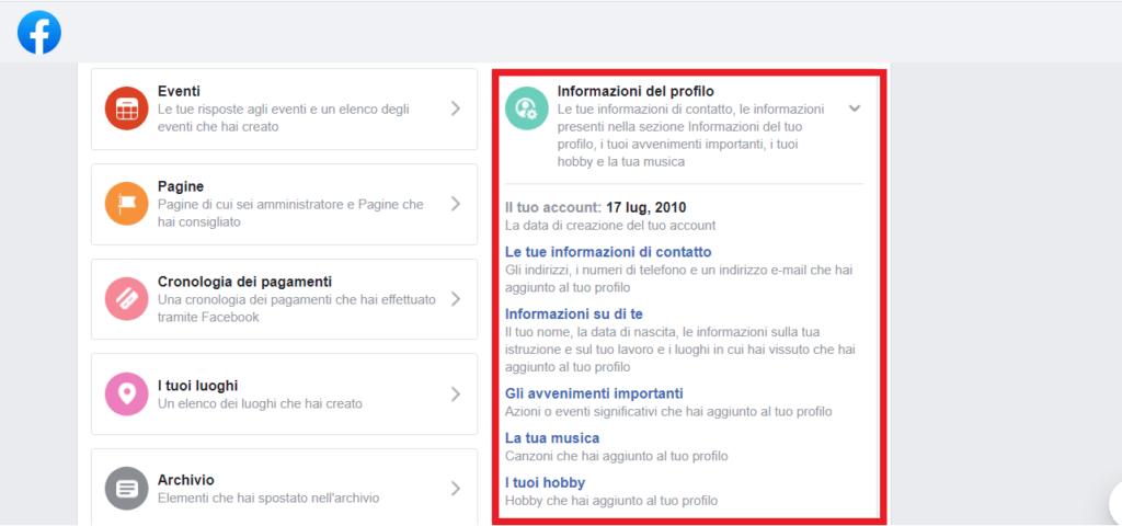 informazioni profilo facebook
