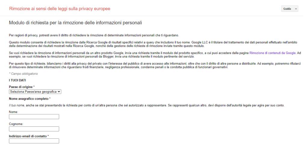 modulo richiesta rimozione info personali da google reputationup cancellare dal web