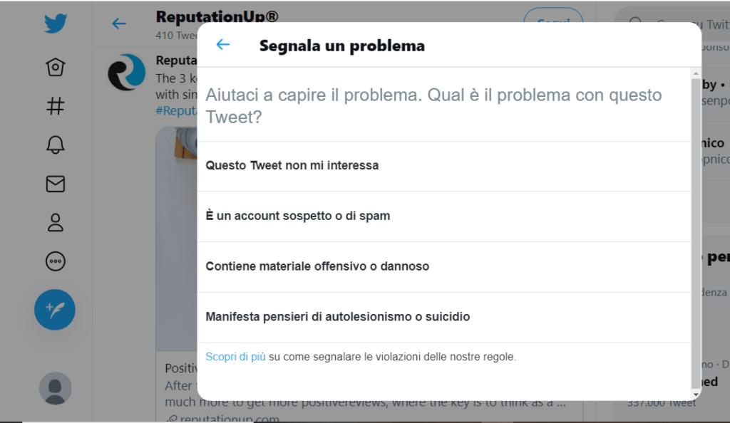 segnalare contenuti su twitter per cancellare notizie da internet reputationup