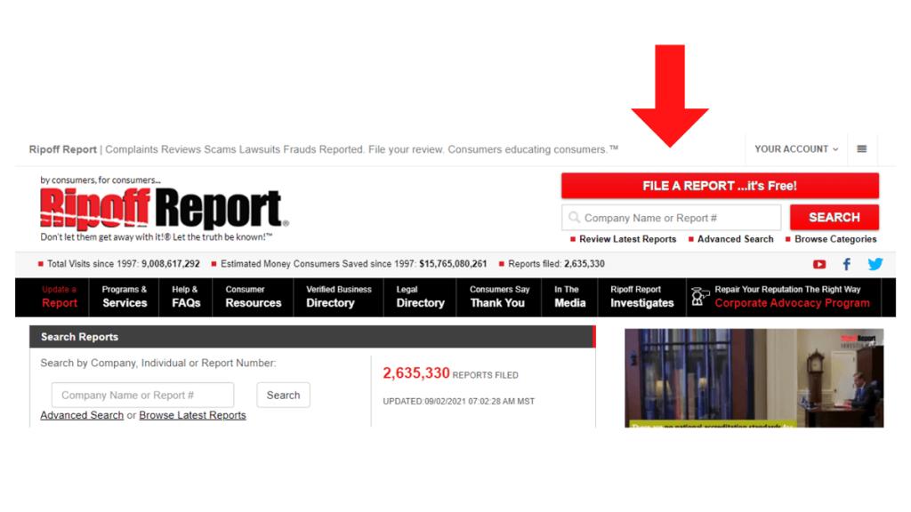 Comment soumettre un rapport sur Ripoff Report ReputationUP