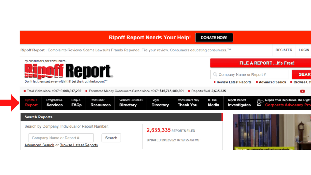 Quali altre azioni consente Ripoff Report Update ReputationUP