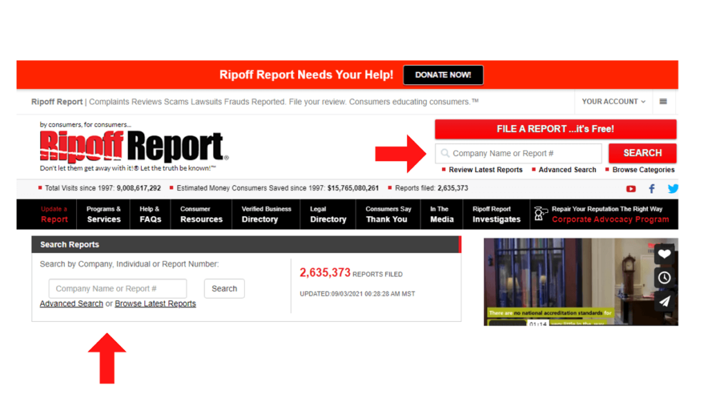 What other actions does Ripoff Report allow search report ReputationUP